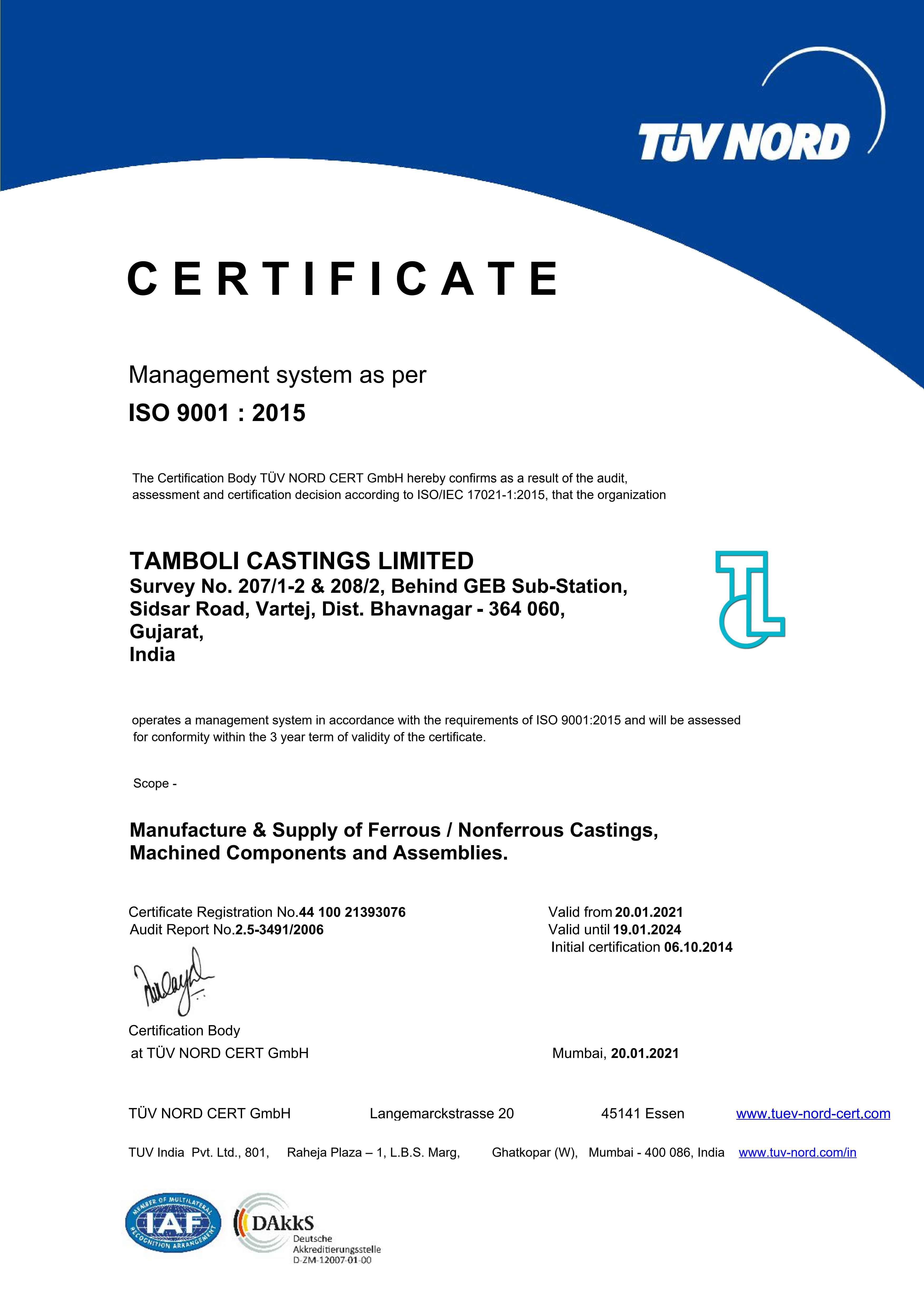 Tamboli Castings Limited